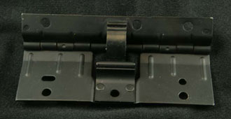 Automotive hinge stamped and heat treated
